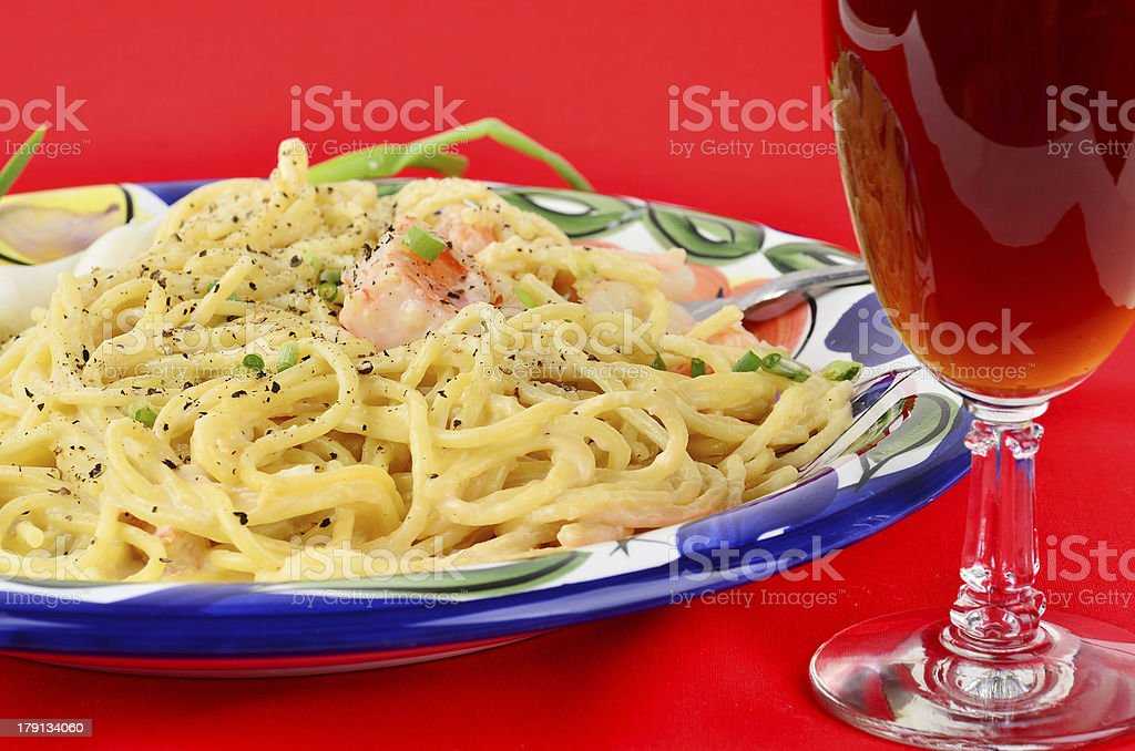 Red Wine and Pasta royalty-free stock photo