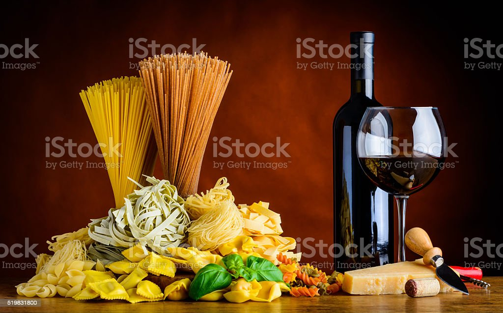 Red Wine and Pasta stock photo
