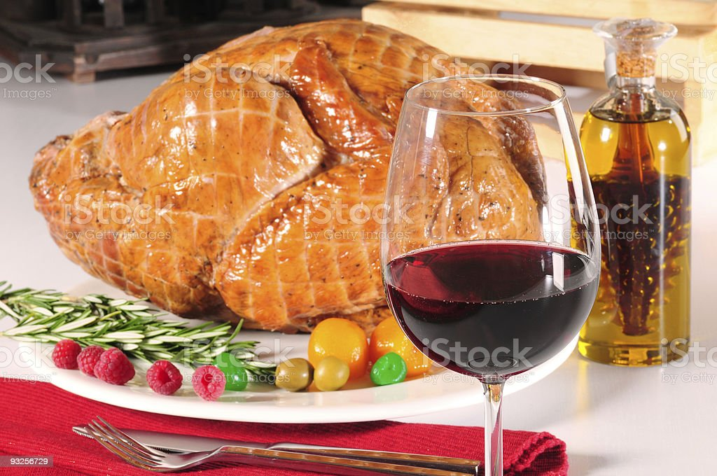 Red wine and roasted turkey. stock photo