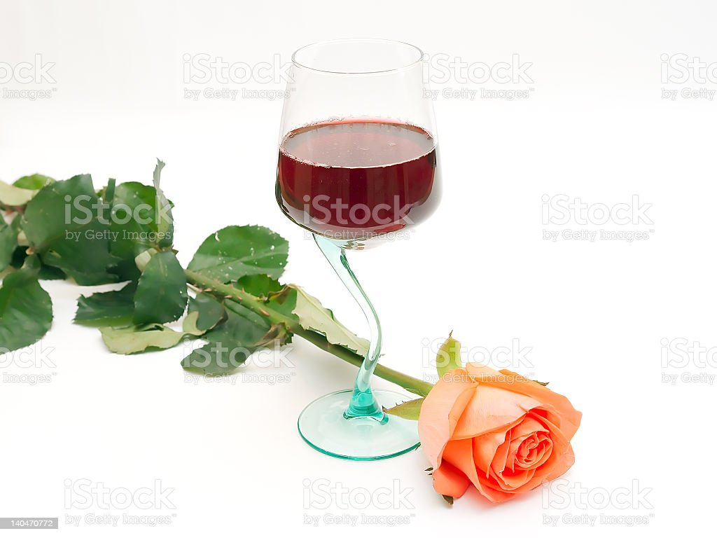 Red wine and rose royalty-free stock photo