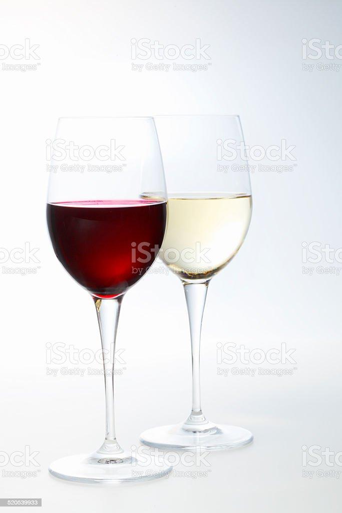 Red wine and white wine stock photo