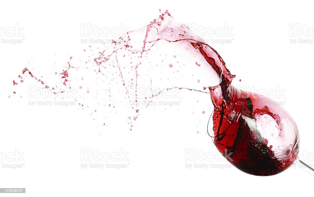 Red wine and wineglass stock photo