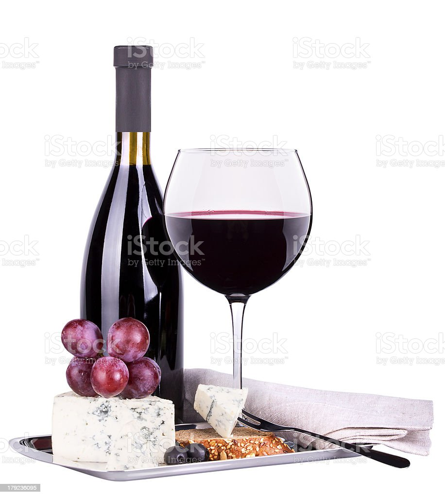 red wine assortment of grapes and cheese royalty-free stock photo