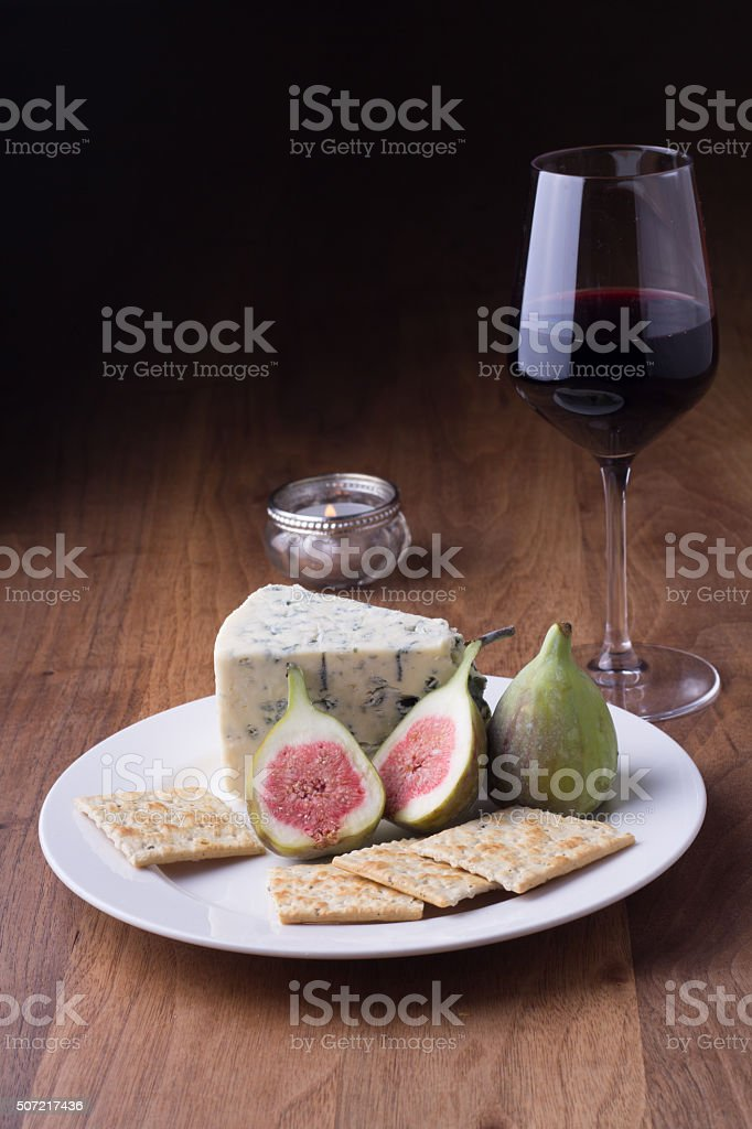 Red wine, Blue cheese and figs stock photo