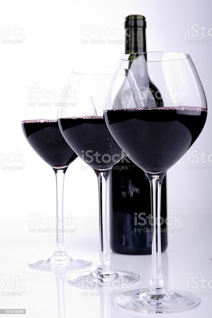 Red Wine bottle and glass on white background royalty-free stock photo