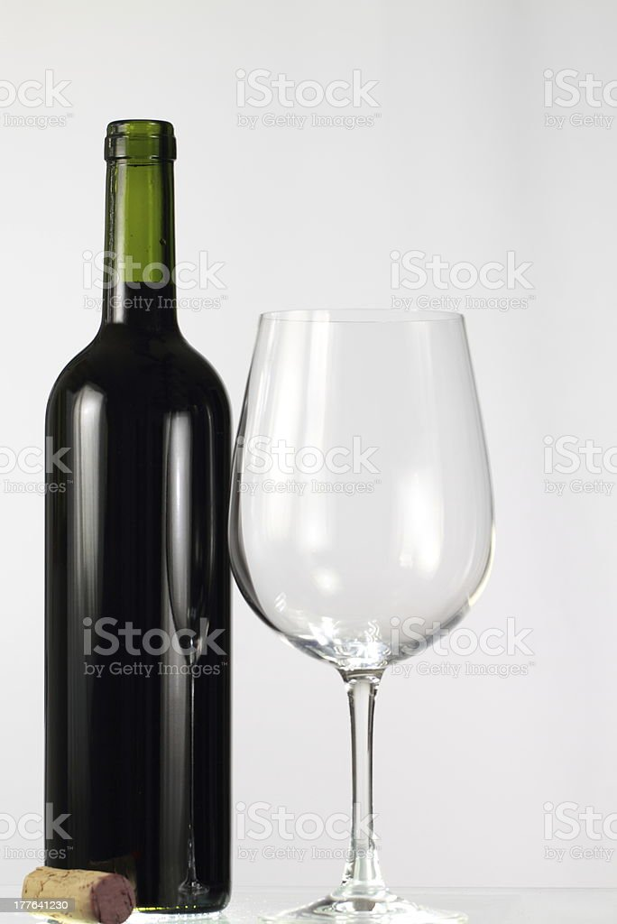 Red Wine Bottle and Glass royalty-free stock photo