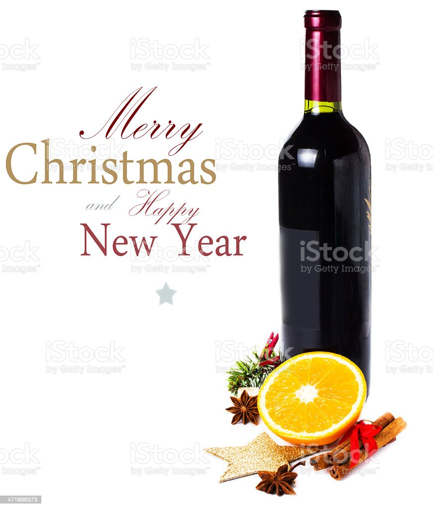 Red wine bottle and spices for Christmas Mulled royalty-free stock photo