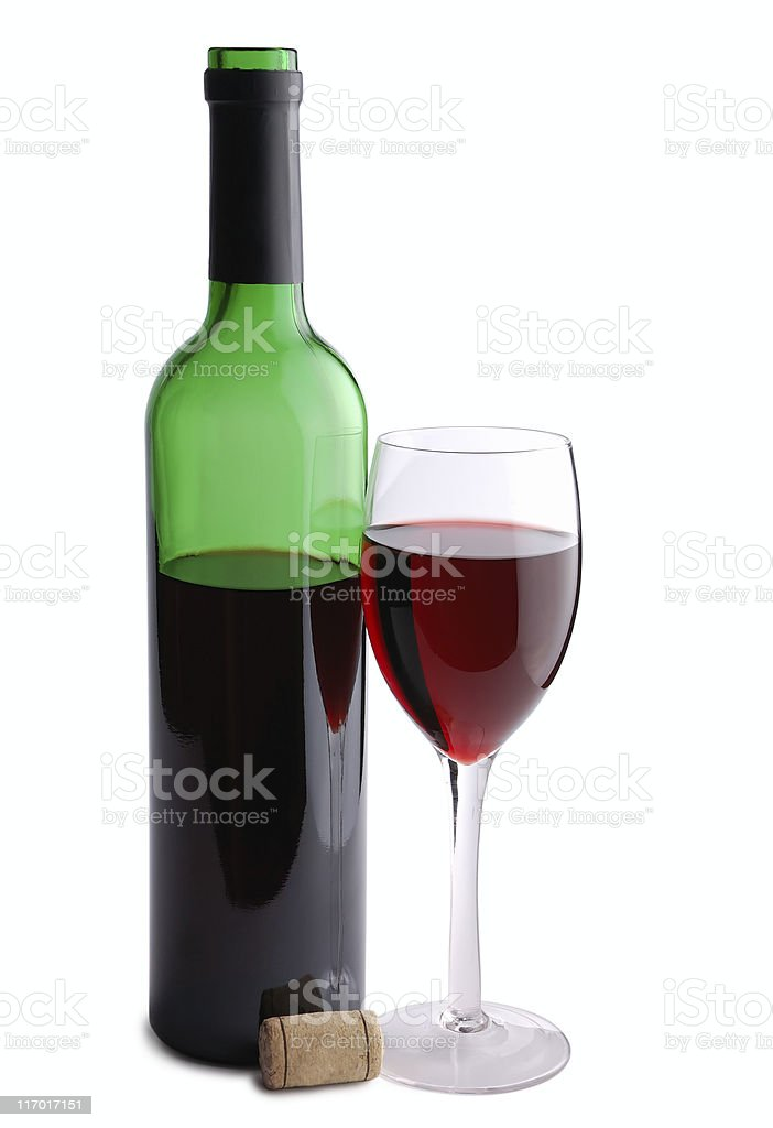 Red wine bottle, cork and glass royalty-free stock photo