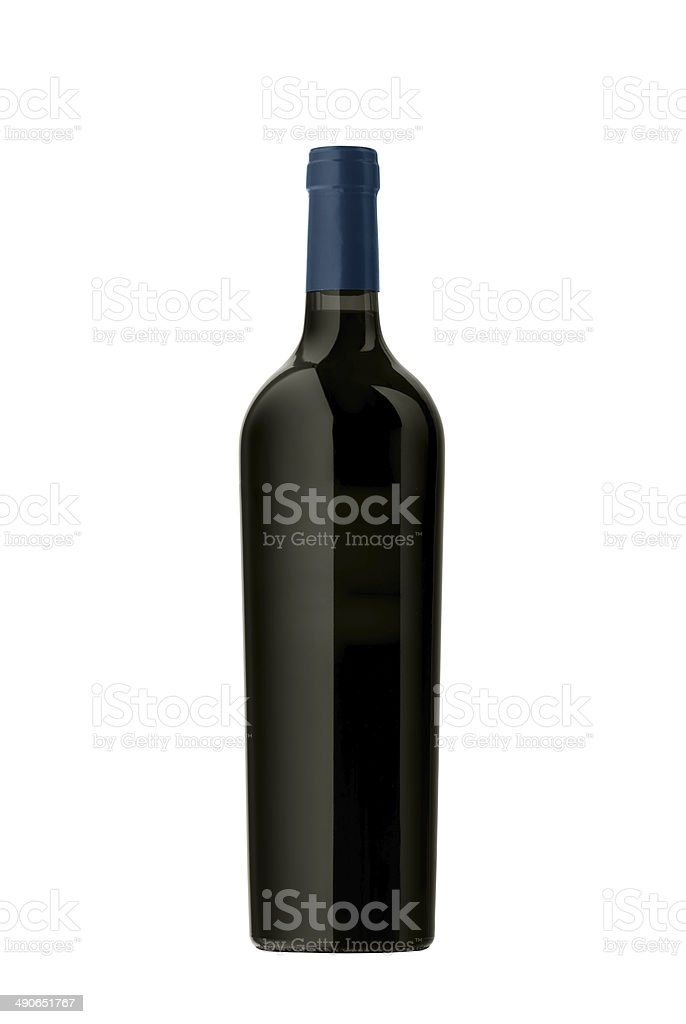 red wine bottle isolated stock photo