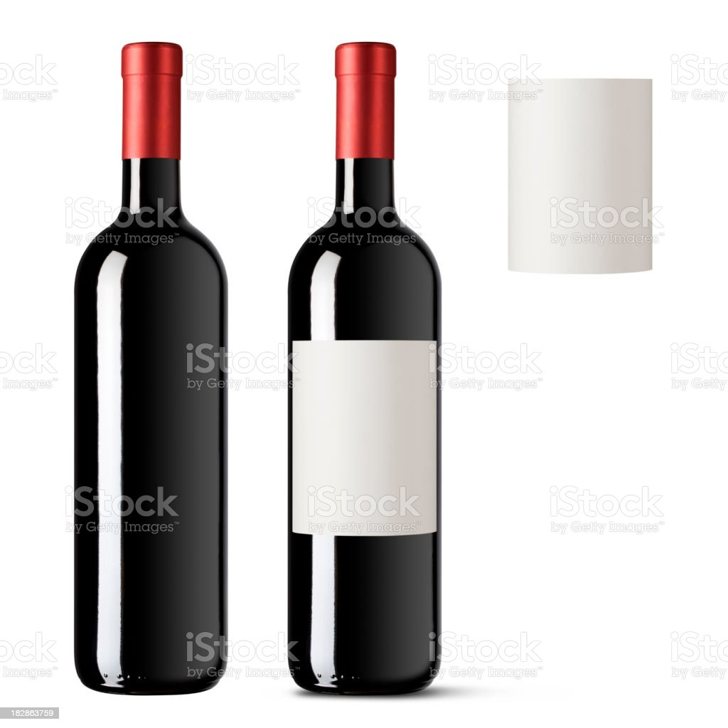 Red wine bottle stock photo