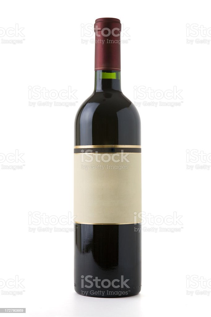 Red wine bottle with a blank label royalty-free stock photo
