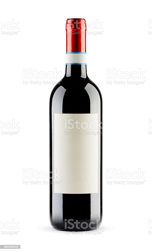 Red wine bottle with blank label, Clipping Path included stock photo