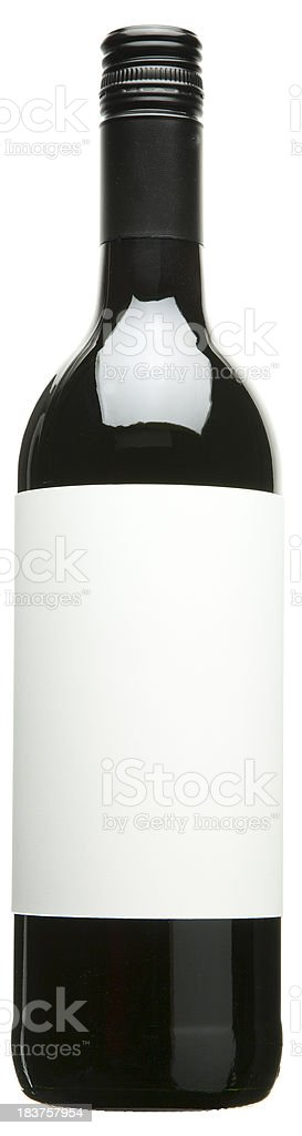 Red wine bottle with blank label isolated royalty-free stock photo