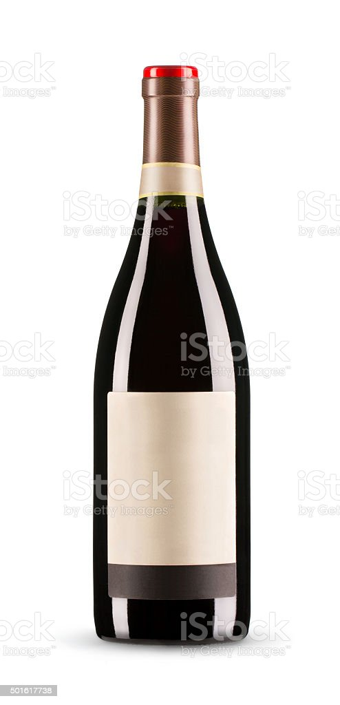 Red wine bottle with blank label (clipping path included) stock photo