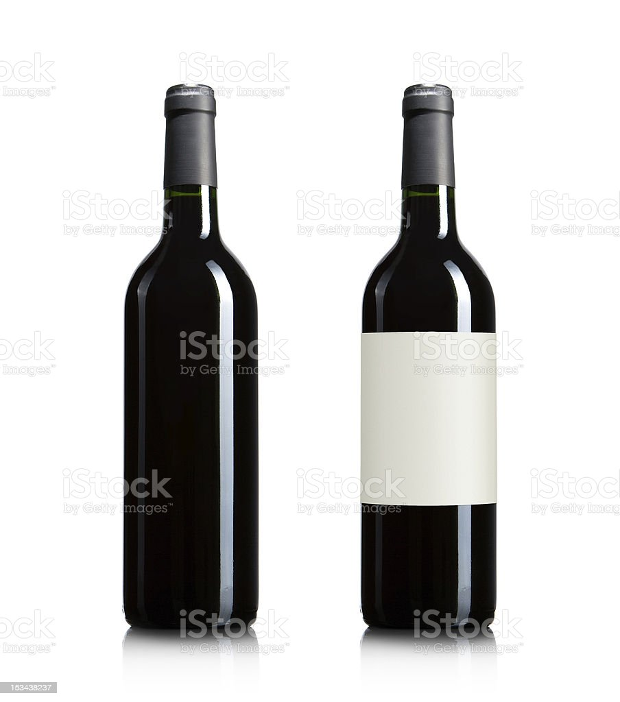 Red wine bottles isolated on white stock photo