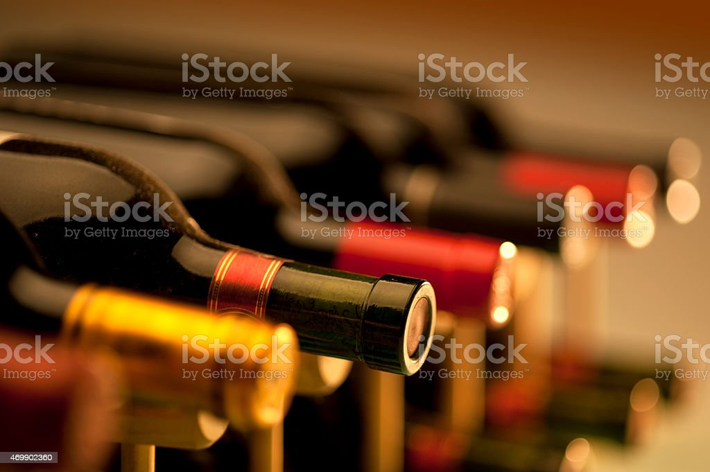 Red wine bottles stock photo