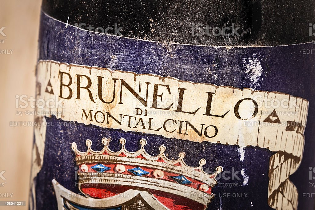 1968 Red Wine Brunello di Montalcino, Old Bottle stock photo
