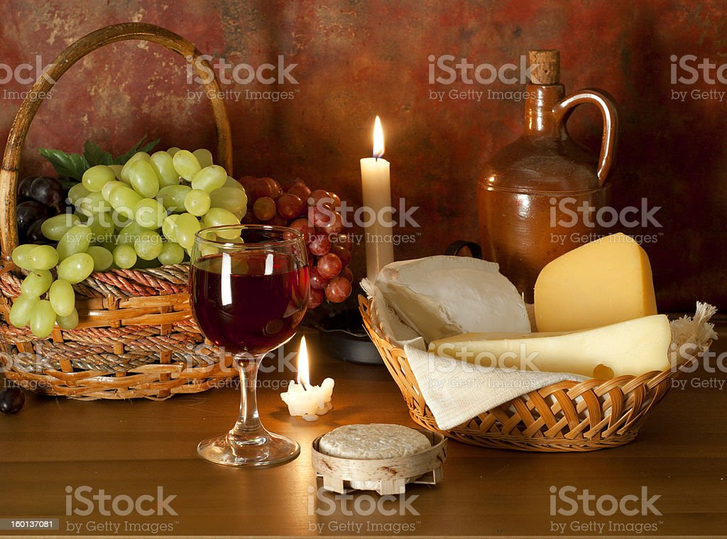 Red wine, cheese and fruit royalty-free stock photo