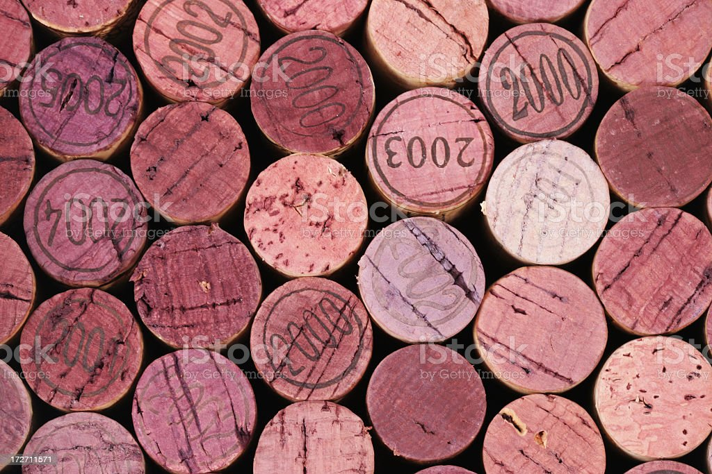 Red wine corks stock photo