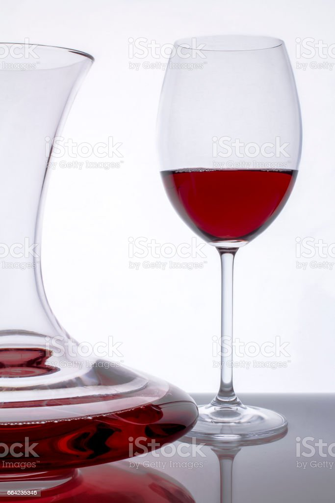 red wine decanter and glass 3 stock photo