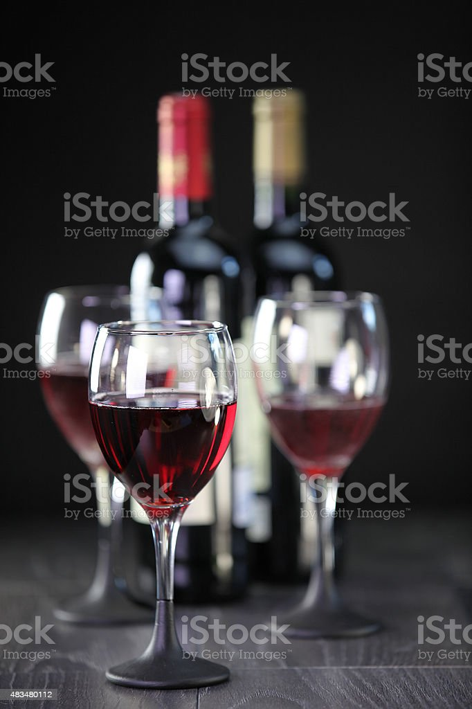 Red wine display stock photo