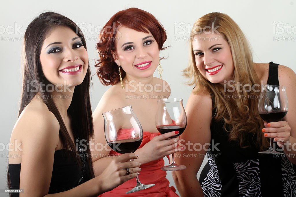 Red wine friends stock photo