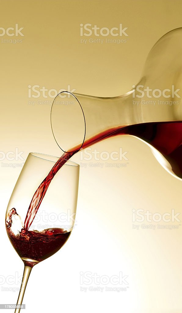 Red Wine from a Decanter stock photo