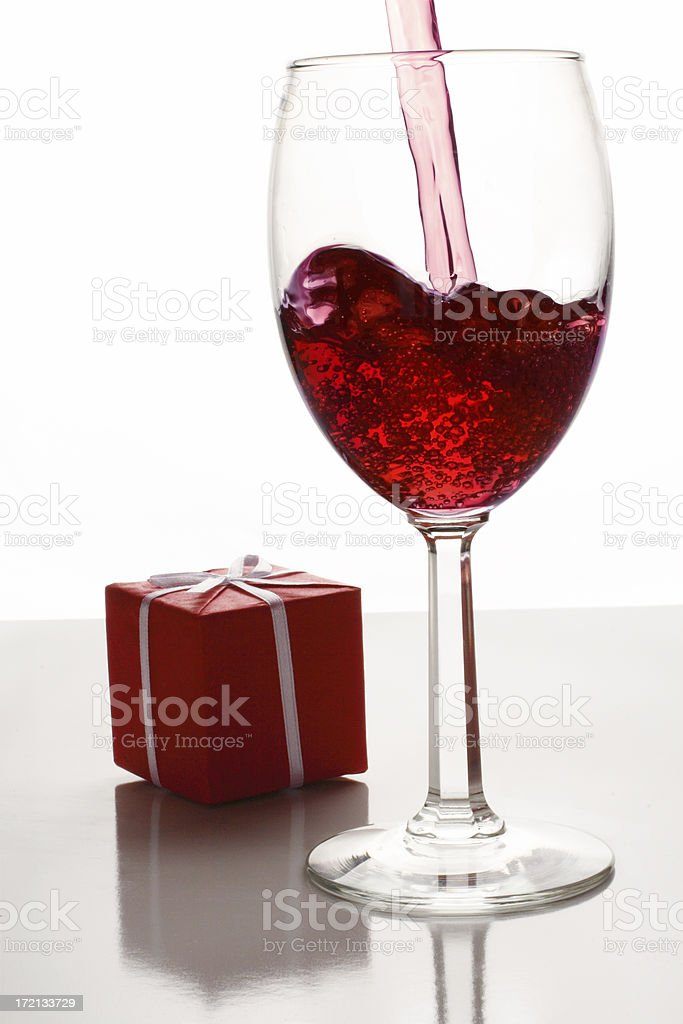 red wine, gift box royalty-free stock photo