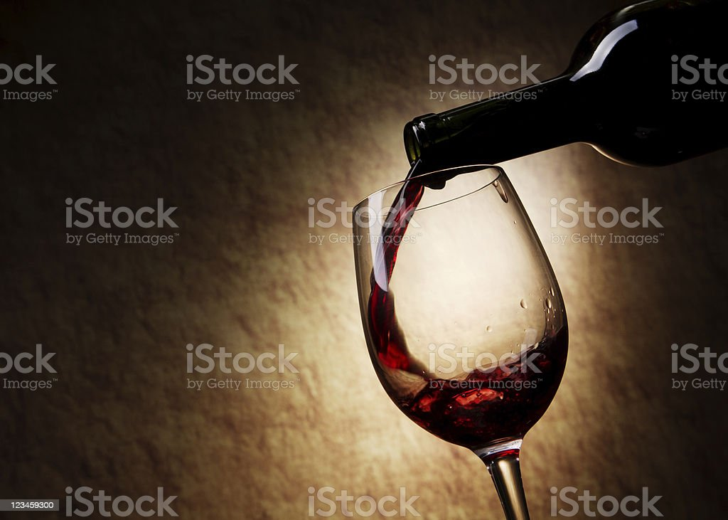 Red Wine glass and Bottle royalty-free stock photo