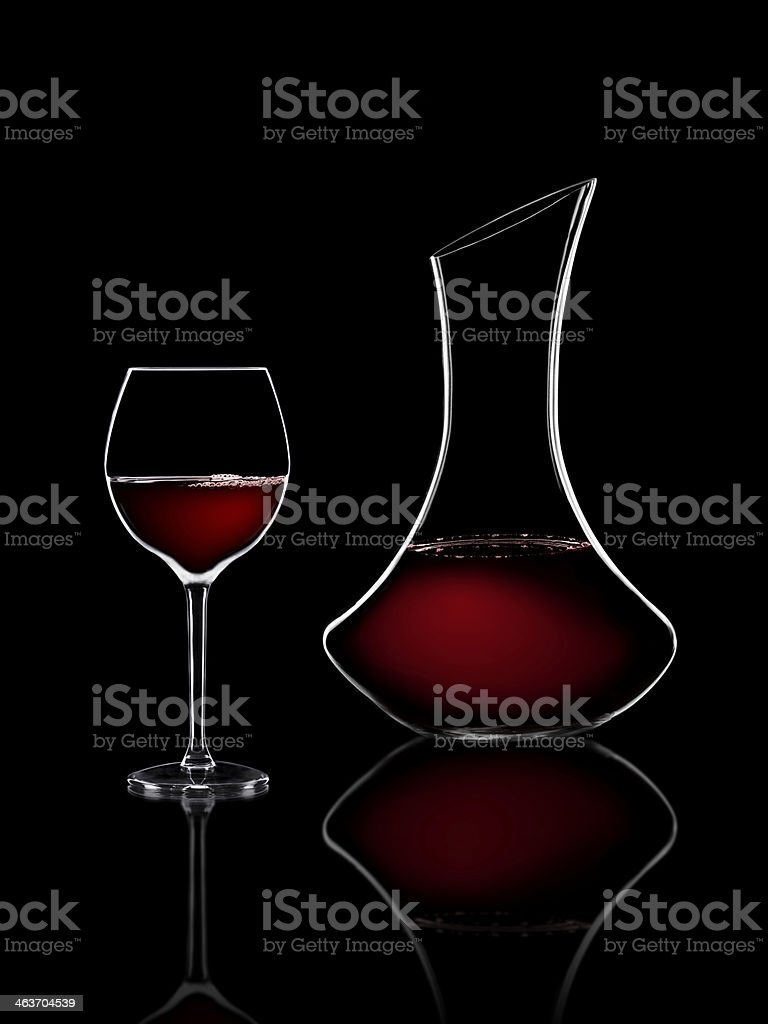 red wine glass and carafe stock photo