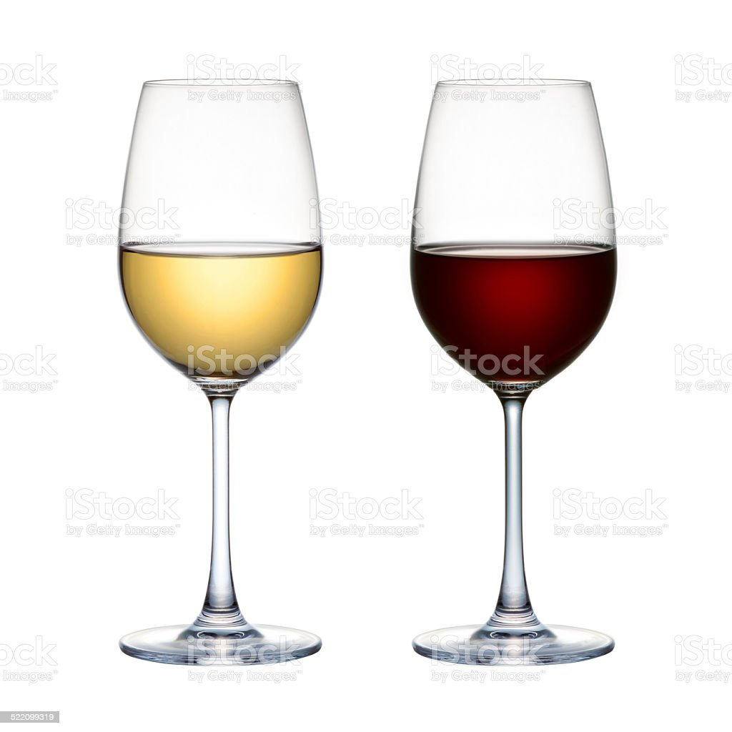 Red wine glass and white wine glass isolated on white background stock photo