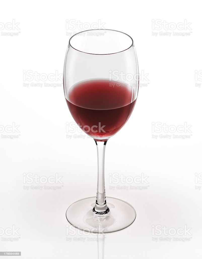 Red wine glass. On white background. Bird's-eye view. royalty-free stock photo