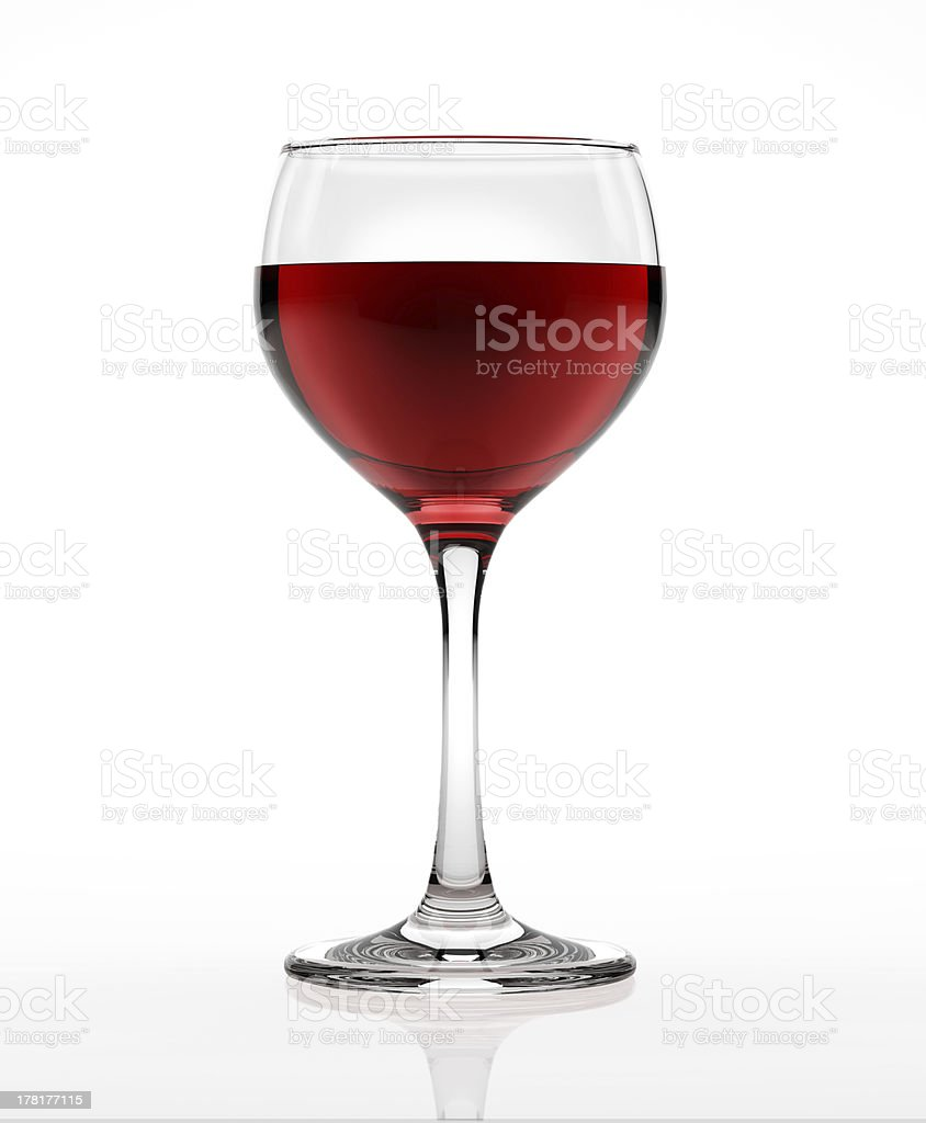 Red wine glass, on white surface and background. royalty-free stock photo