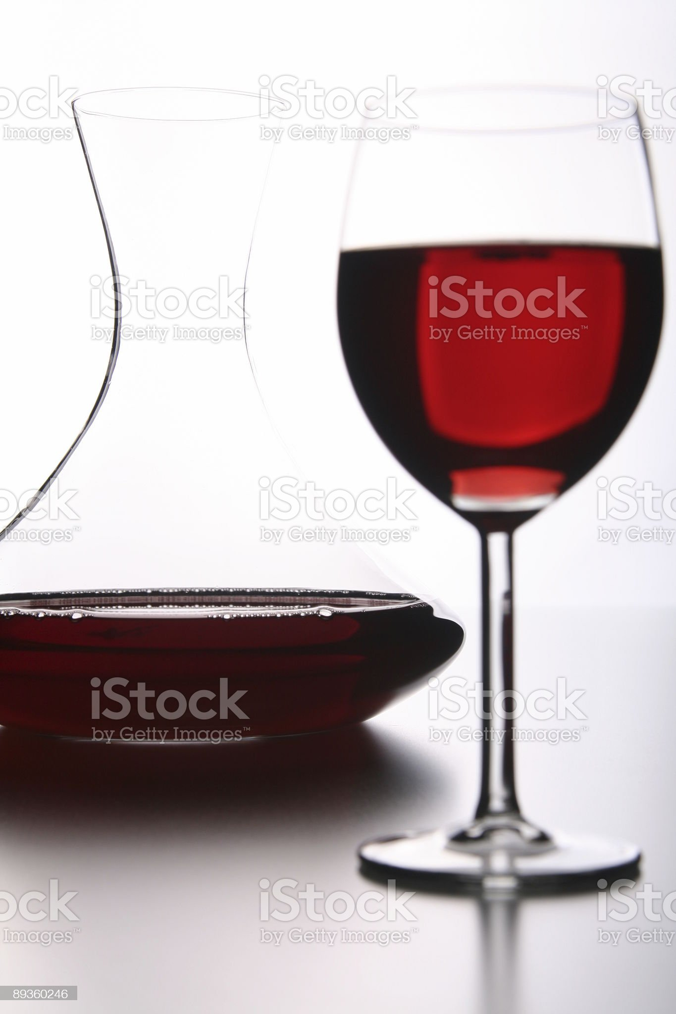 Red Wine Glass with Decanter royalty-free stock photo
