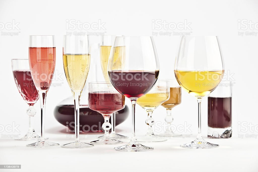 red wine glasses isolated on white composition royalty-free stock photo