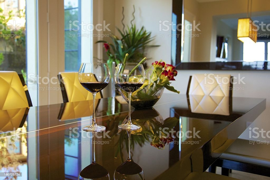 Red Wine Glasses on fine dining table royalty-free stock photo