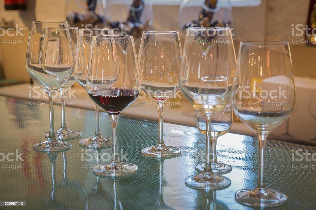 Red wine glasses stock photo