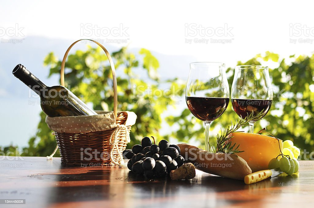 Red wine, grapes and cheese. Lavaux region, Switzerland stock photo