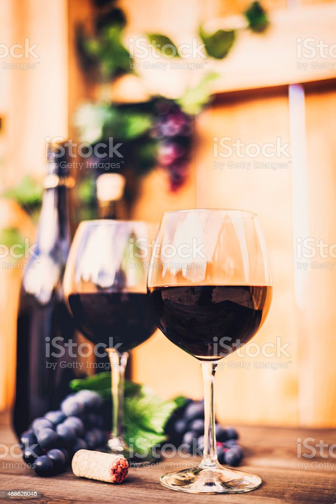 Red wine, grapes and wine bottles. Winetasting al fresco. stock photo