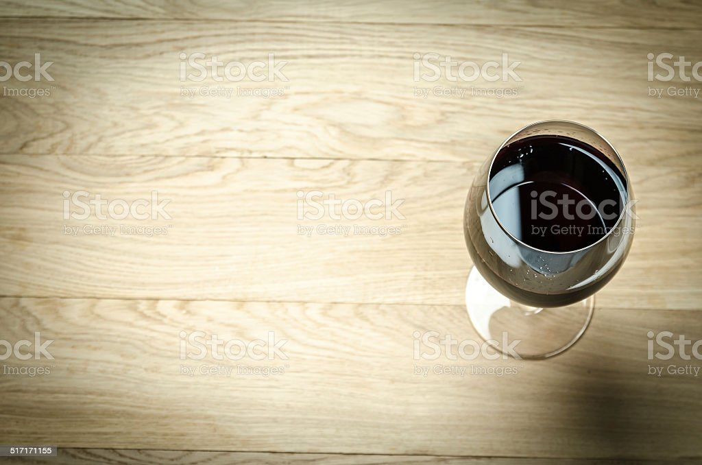 Red Wine In A Wine Glass. The Top View stock photo