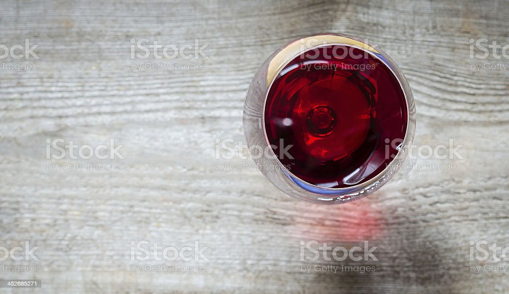 Red Wine In A Wineglass. The Top View stock photo