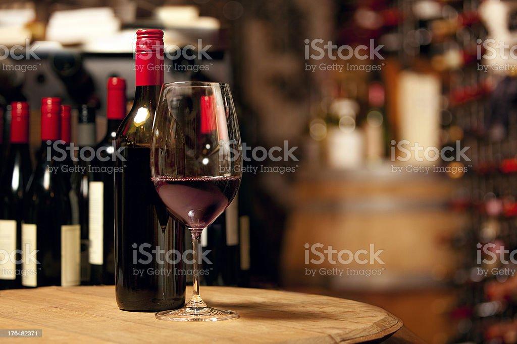 Red wine in an underground cellar stock photo