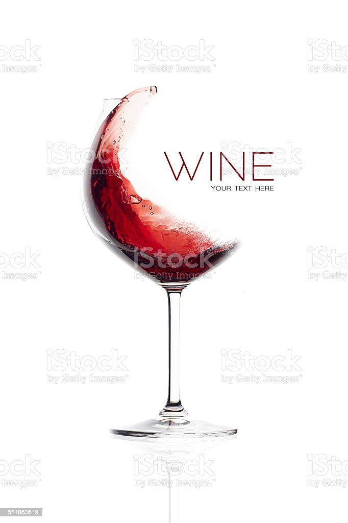 Red Wine in Balloon Glass. Splash Design stock photo