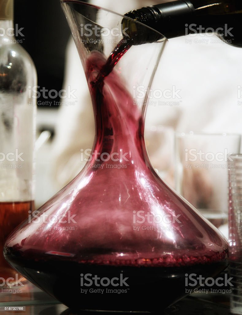 Red wine in carafe stock photo