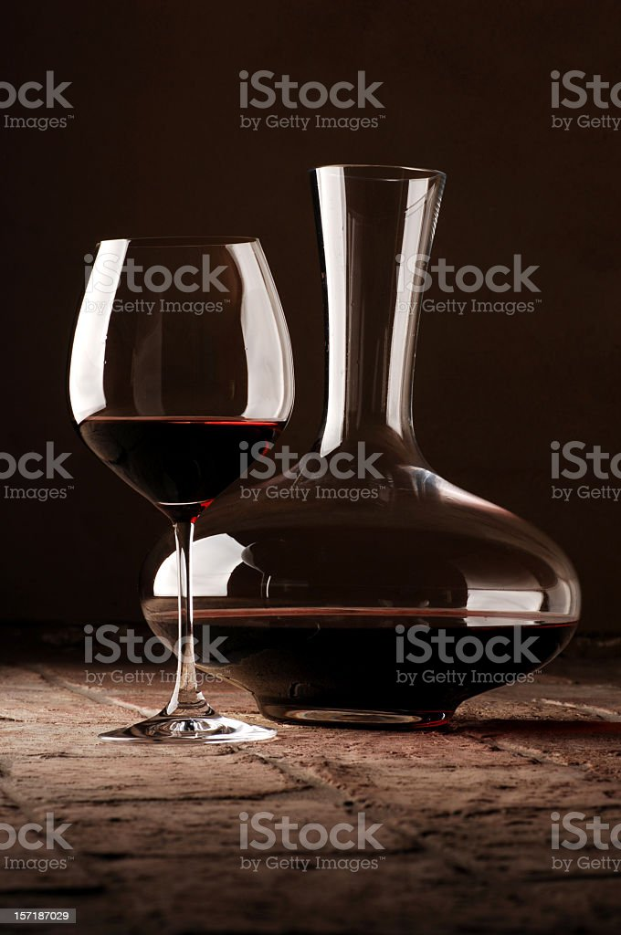 red wine in decanter stock photo