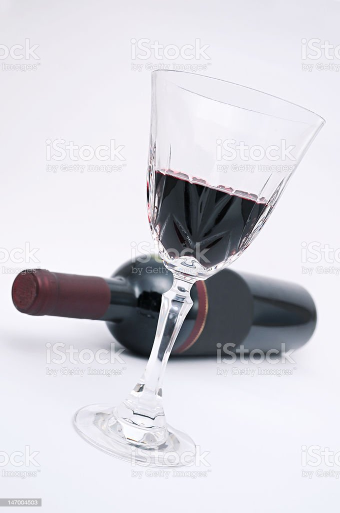 Red wine in glas and bottle royalty-free stock photo