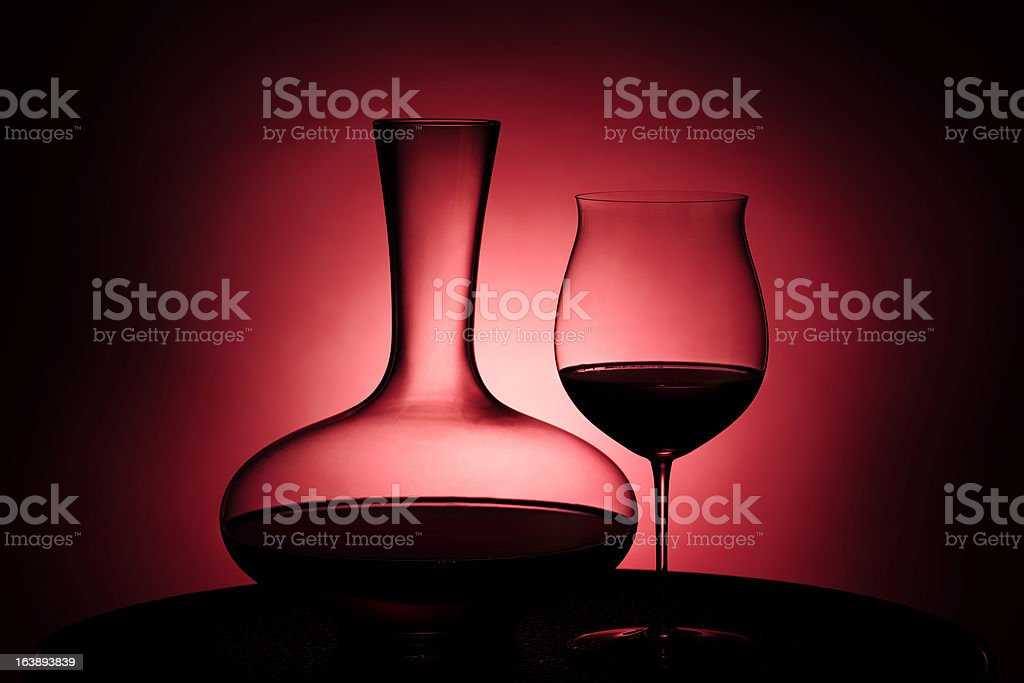 Red wine in glass and Decanter royalty-free stock photo