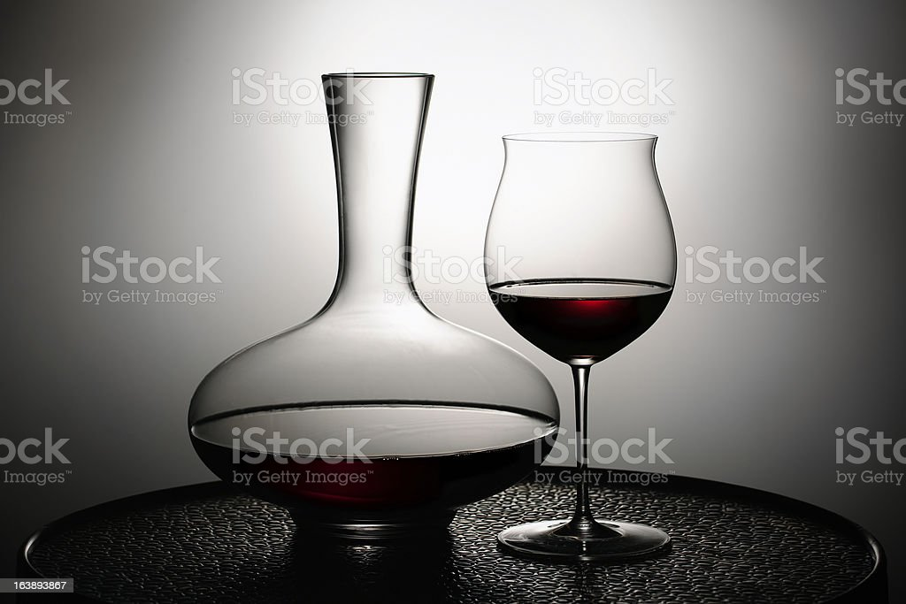 Red wine in glass and Decanter stock photo