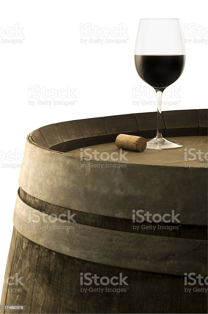 Red Wine on Barrel royalty-free stock photo