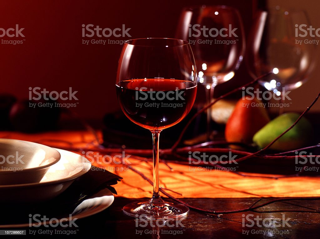 Red Wine on Fall Table royalty-free stock photo